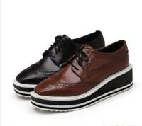 Women's Brogue Lace Up Wedge Heel Platform Oxford hot new creeper Sneaker shoes