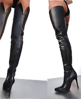 GIOHEL ITALY PLATFORM OVERKNEE SHOES BOOTS STIEFEL STIVALI LEATHER BLACK NERO 43
