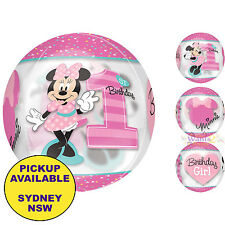 MINNIE MOUSE 1ST BIRTHDAY PARTY SUPPLIES 40CM ORBZ FOIL BALLOON DECORATIONS