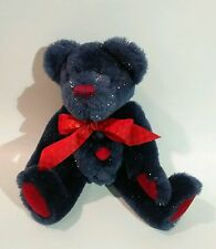 "Boyds Bear Collection Plush Blue Sparkly Bear w/Bow EUC Rare Retired 9"""