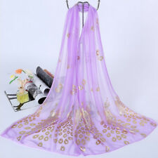 Vintage Ladies Organza Peacock Floral Soft Scarf Wrap Shawl Stole Pashmina Hijab