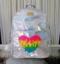 Luv Betsey Johnson Backpack Silver Holographic Heart Iridescent Bookbag Mariss