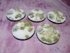 5X 40mm Round Plastic Bases Pre-Flocked Winter Wilderness  Snow Frostgrave RPG's
