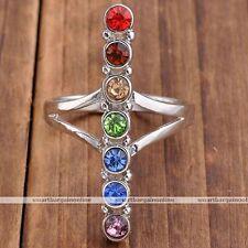 Balancing Meditation 7 Chakra Rhinestone Glass Bar Finger Ring Healing