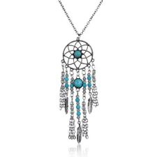 Fashion Retro Boho Beach Dream Catcher Feather Leaf Long Necklace Chain Jewelry
