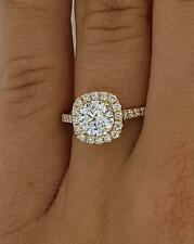 1.4 Ct Pave Halo Round Cut Diamond Engagement Ring SI2 G Rose Gold 18k