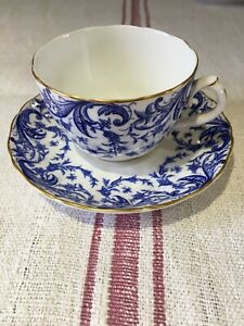 ANTIQUE ROYAL WORCESTER PORCELAIN BLUE SCROLL CUP AND SAUCER  1899 Rd 187593