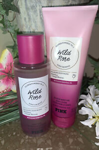 Victoria's Secret PINK WILD ROSE Body Mist & Lotion~New With Essential Oil💕