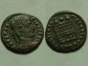 Constantine I/ Rare ancient Roman coin Camp-gate turrets Star Cyzicus patina