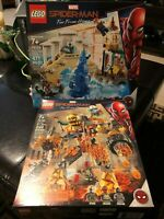 LEGO Marvel Lot of 2 sets 76128/76129 Spider-Man Far From Home Hydro-Man/Molten!