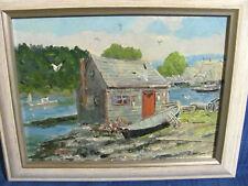 Vintage Oil Painting Lobster Shack on Maine Coast