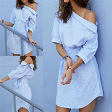 Women One Shoulder Striped Shirt Dress Sexy Side Split Half Sleeve Beach FT
