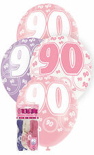 """Unique Party 80921 - 12"""" Latex Glitz Pink 90th Birthday Balloons Pack of 6"""