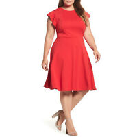 CITY CHIC Red Frill Sleeve Panel Fit & Flare Dress Size M 18 Plus Party Cocktail