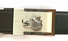 Wild Boar Head Belt Buckle and Leather Belt in Gift Tin Hunting Present 034