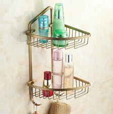 Antique Brass Bathroom Wall Mounted Double Tiered Corner Shower Basket Shelf