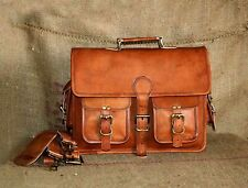 "Men's 15"" goat leather messenger Real satchel bag genuine laptop brown briefcase"