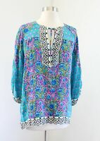 Tolani Blue Pink Green Silk Floral Tie Neck Blouse Top Size S Boho Anthropologie