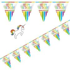 """Rainbow """"Happy Birthday"""" Bunting Flags-Party Decorations-Kids Parties 3.6Metres"""