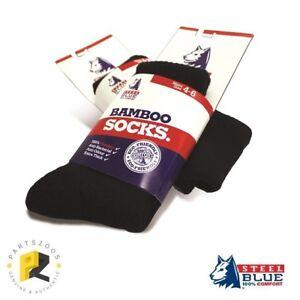 Steel Blue Bamboo Socks Black Work Heavy Duty Anti-Bacterial Anti-Odour