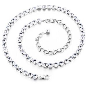 1 ROW Diamante Diamonte Ladies Belt Chain Silver One Size Close Diamond