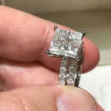 Certified 2.75Ct Princess Cut White Diamond Engagement Ring Set 14K White Gold