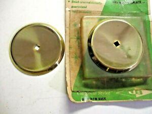 "JB JayBee USA 1940 Concave Beveled Backplates 2-1/4"" Medallions Brass 2 Vintage"