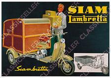 Siam Lambretta Siambretta Lastenroller Motorroller Kasten Koffer Poster Plakat