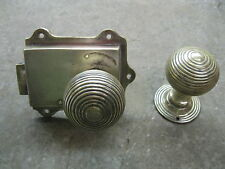 COPPIA di Originali Rigenerati OTTONE REEDED MANOPOLE E OTTONE MASSICCIO latch 0175