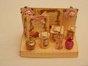 Dolls house :Pretty handmade vintage rose perfume & toiletries display-By Fran