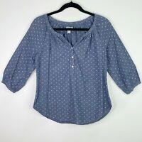 Old Navy Polka Dot Chambray Blouse Top Shirt Size XS Womens