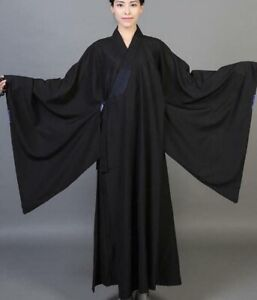 Buddhist Monk Shaolin Dress Meditation Haiqing Robe Long Gown Kung Fu Suit