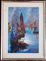Lithografie Fischerboote, gerahmt, sig. Riviere, 50er Jahre
