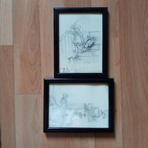 Winnie the Pooh Framed Art Prints Postcards, A.A. Milne Sketches, Used
