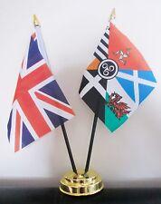 UNION JACK AND CELTIC NATIONS TABLE FLAG SET 2 flags plus GOLDEN BASE