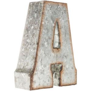 """7"""" Marque Galvanized Vintage Style Metal 3D ABC ALPHABET Letters Sign Farm Decor"""