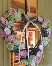 Easter Spring Door Wreath Hanging Decoration Wicker Heart Speckled Eggs Flowers