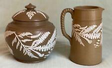 Rare Antique English Dudson Brown Jasperware Sugar Bowl and Creamer 1870's