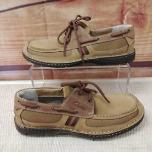 NWT MENS CLARKS WATERLOO XTR LITE TAN NUBUCK LEATHER BOAT SHOES LOAFERS SIZE 10