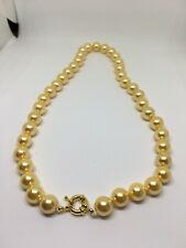 100% real  10mm Gold Yellow South Sea Shell Pearl Gemstone Necklace