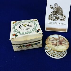 Trinket Box with Lid Staffordshire England Falcon China Vintage Cottage Scene