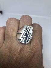 Vintage Black Lightning Bolt Ring Southwestern Inlay Silver White Bronze Size 9