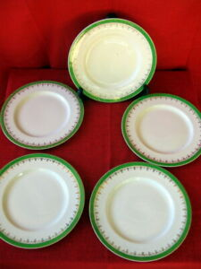 ALFRED MEAKIN -GREEN & GOLD -5 DINNER/ ENTRE PLATES -22.6 cm Diam.-England China