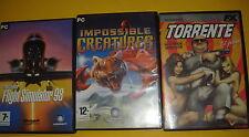 Tres Juegos de PC-buen estado-TORRENTE-IMPOSSIBLE CREATURES-FLIGHT SIMULATOR 88