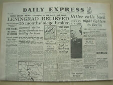 DAILY EXPRESS WWII NEWSPAPER JANUARY 19th 1943 LENINGRAD RELIEVED - SIEGE BROKEN