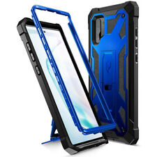 For Galaxy Note 10 Plus Case Leather Texture Shockproof Cover (Metallic Blue)