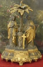 Amazing Antique French Religious Spelter Statue, Holy Family, St. Famille, 19thC