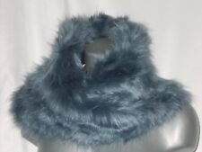 9 x 15 Blue Rabbit Faux Fake Fur Tube Twisted Type Neck Warmer Scarf  New