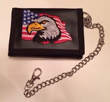 12pc Eagle Trifold Wallet, New With Chain, Wholesale USA SELLER ONLY $2.00 each