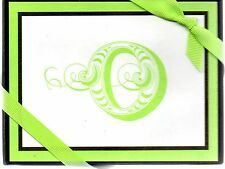 "Letter Initial O ""O"" Hallmark Green and Black Note Cards - Boxed Set of 10"